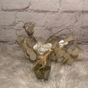 CREAM FAUX FLORAL BOUQUET IN GEL INFUSED ROCK VASE
